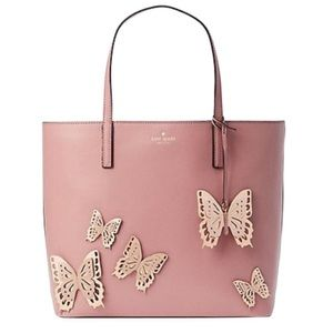 Kate Spade Butterfly Dusty Peony Leather Tote